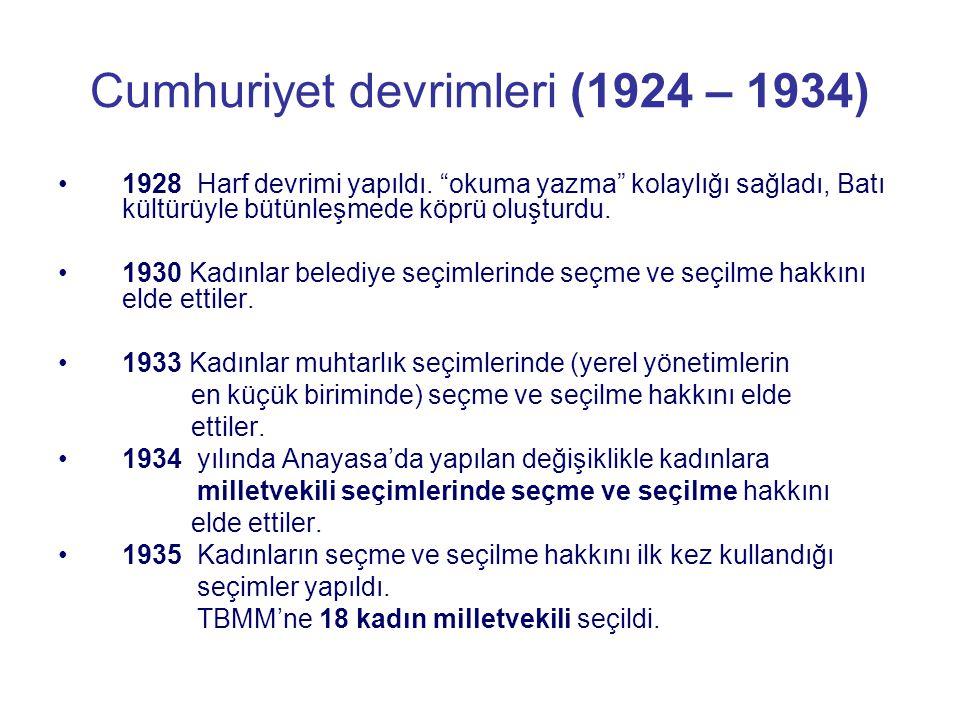 """Cumhuriyet devrimleri (1924 – 1934) 1928 Harf devrimi yapıldı. """"okuma yazma"""" kolaylığı sağladı, Batı kültürüyle bütünleşmede köprü oluşturdu. 1930 Kad"""