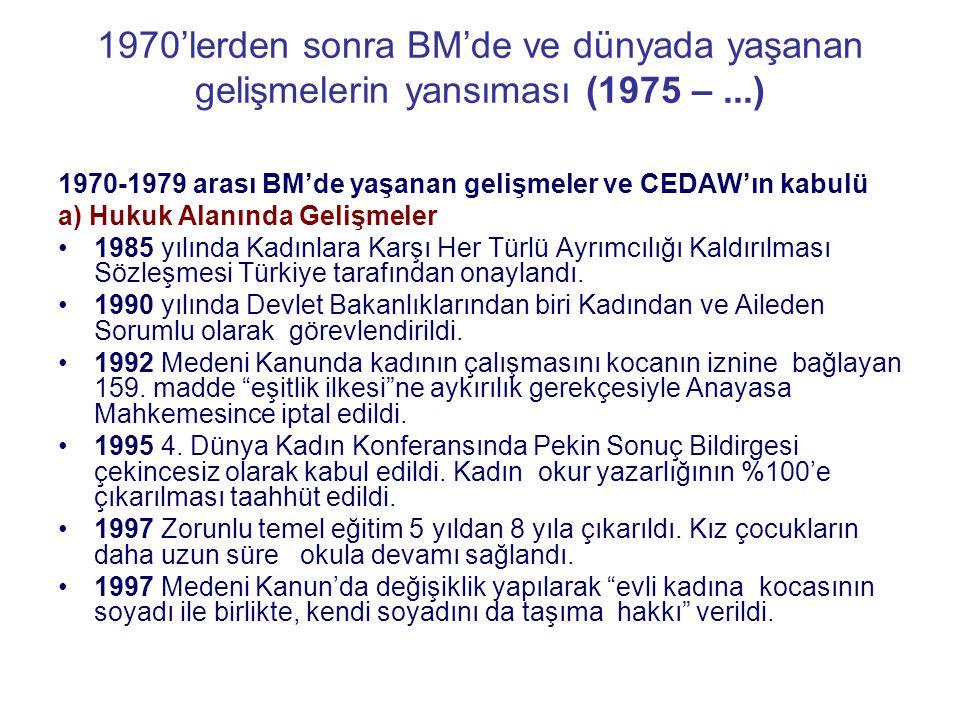 1970'lerden sonra BM'de ve dünyada yaşanan gelişmelerin yansıması (1975 –...) 1970-1979 arası BM'de yaşanan gelişmeler ve CEDAW'ın kabulü a) Hukuk Ala