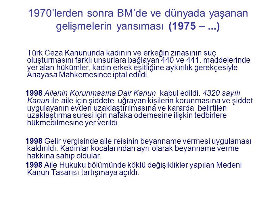 1970'lerden sonra BM'de ve dünyada yaşanan gelişmelerin yansıması (1975 –...) Türk Ceza Kanununda kadının ve erkeğin zinasının suç oluşturmasını farkl