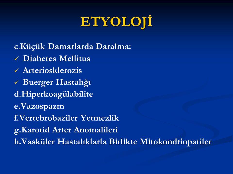 ETYOLOJİ. c.Küçük Damarlarda Daralma: Diabetes Mellitus Arteriosklerozis Buerger Hastalığı d.Hiperkoagülabilite e.Vazospazm f.Vertebrobaziler Yetmezli