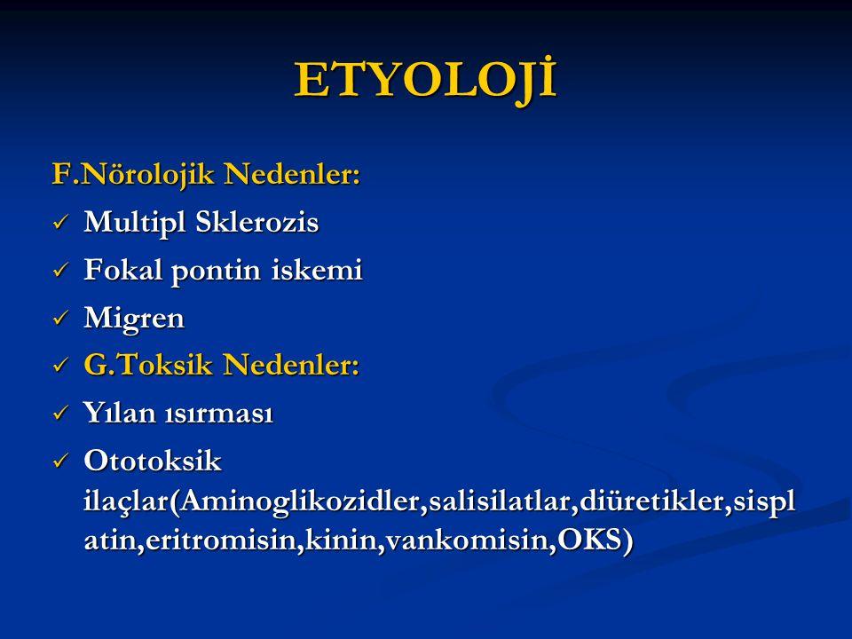 ETYOLOJİ F.Nörolojik Nedenler: Multipl Sklerozis Multipl Sklerozis Fokal pontin iskemi Fokal pontin iskemi Migren Migren G.Toksik Nedenler: G.Toksik N