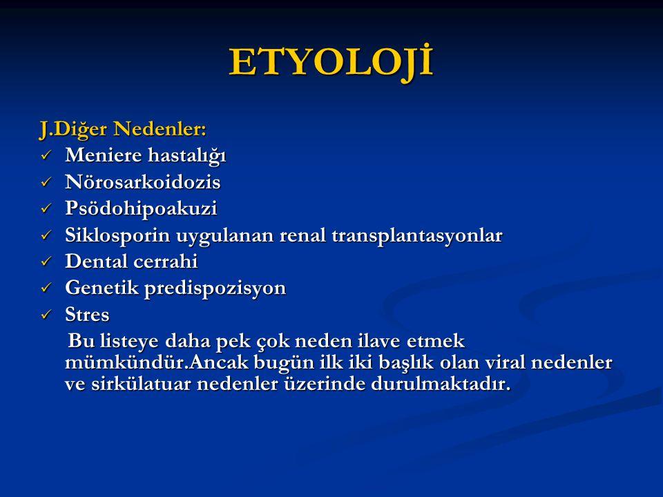 ETYOLOJİ J.Diğer Nedenler: Meniere hastalığı Meniere hastalığı Nörosarkoidozis Nörosarkoidozis Psödohipoakuzi Psödohipoakuzi Siklosporin uygulanan ren
