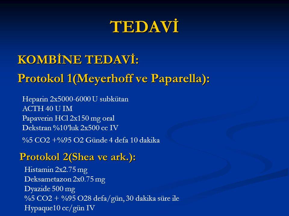 TEDAVİ KOMBİNE TEDAVİ: Protokol 1(Meyerhoff ve Paparella): Heparin 2x5000-6000 U subkütan ACTH 40 U IM Papaverin HCl 2x150 mg oral Dekstran %10'luk 2x