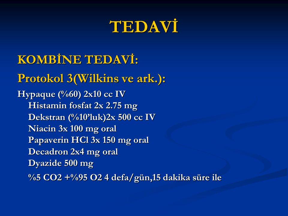 TEDAVİ KOMBİNE TEDAVİ: Protokol 3(Wilkins ve ark.): Hypaque (%60) 2x10 cc IV Histamin fosfat 2x 2.75 mg Dekstran (%10'luk)2x 500 cc IV Niacin 3x 100 m