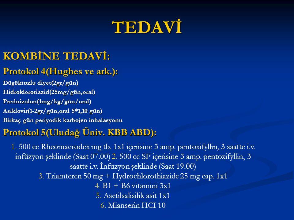TEDAVİ KOMBİNE TEDAVİ: Protokol 4(Hughes ve ark.): Düşüktuzlu diyet(2gr/gün) Hidroklorotiazid(25mg/gün,oral)Prednizolon(1mg/kg/gün/oral) Asiklovir(1-2