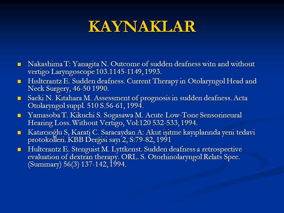 KAYNAKLAR Nakashima T: Yanagita N. Outcome of sudden deafness witn and without vertigo Laryngoscope 103.1145-1149, 1993. Nakashima T: Yanagita N. Outc