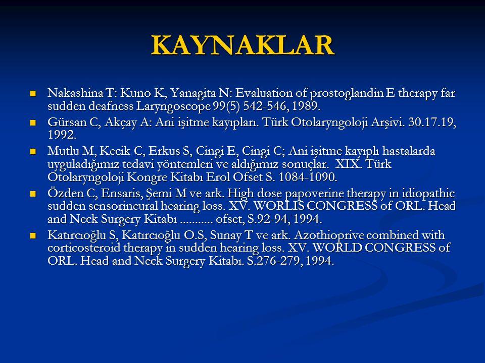 KAYNAKLAR Nakashina T: Kuno K, Yanagita N: Evaluation of prostoglandin E therapy far sudden deafness Laryngoscope 99(5) 542-546, 1989. Nakashina T: Ku