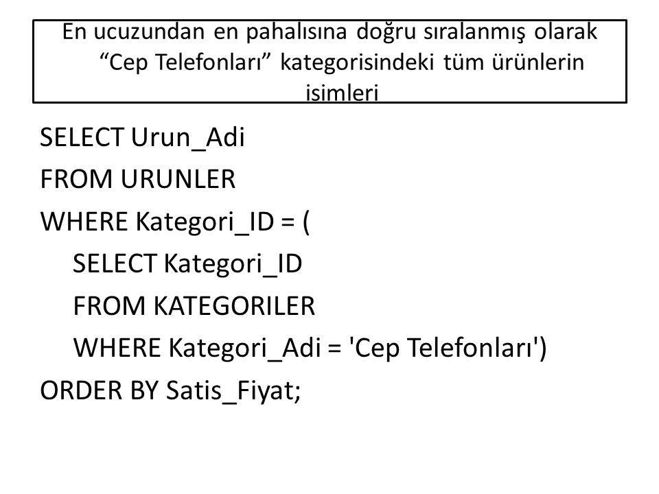Spor kategorisinde ürünleri listelenen İstanbul şehrindeki firmaların isimleri ve telefon numaraları SELECT Firma_Adi, Tel FROM FIRMALAR WHERE Adres Like *İstanbul AND Firma_ID IN ( SELECT Firma_ID FROM URUNLER WHERE Kategori_ID = ( SELECT Kategori_ID FROM KATEGORILER WHERE Kategori_Adi = Spor ));