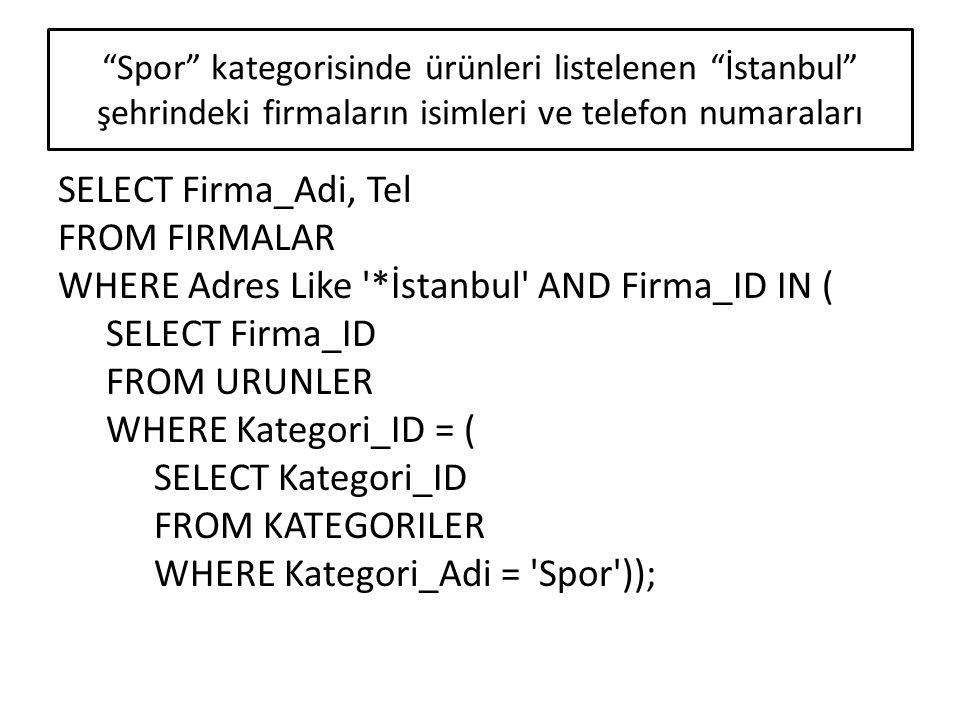 SELECT Sum(Adet) AS KitapSayısı, Sum(Satis_Fiyat*Adet) AS SatışToplamı FROM URUNLER, SIPARIS_DETAY WHERE URUNLER.Urun_ID = SIPARIS_DETAY.Urun_ID AND Siparis_ID IN ( SELECT Siparis_ID FROM SIPARISLER WHERE Tarih BETWEEN #1/1/2009# AND #6/30/2009#) AND Kategori_ID = ( SELECT Kategori_ID FROM KATEGORILER WHERE Kategori_Adi = Kitap ); 2009 yılının ilk 6 ayında satılan toplam kitap sayısı ve fiyatlarının toplamı