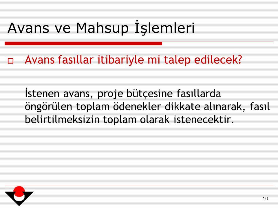 10 Avans ve Mahsup İşlemleri  Avans fasıllar itibariyle mi talep edilecek.