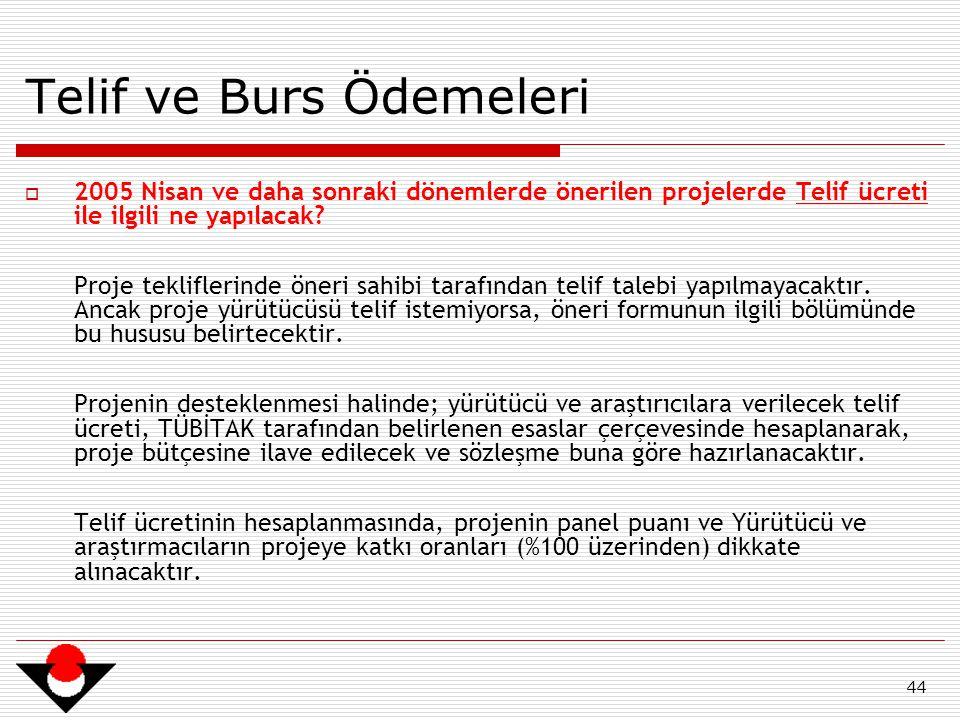 44 Telif ve Burs Ödemeleri  2005 Nisan ve daha sonraki dönemlerde önerilen projelerde Telif ücreti ile ilgili ne yapılacak? Proje tekliflerinde öneri