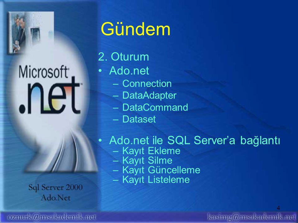 4 2. Oturum Ado.net –Connection –DataAdapter –DataCommand –Dataset Ado.net ile SQL Server'a bağlantı –Kayıt Ekleme –Kayıt Silme –Kayıt Güncelleme –Kay