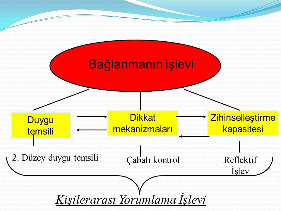 Bağlanmanın işlevi Duygu temsili Dikkat mekanizmaları Zihinselleştirme kapasitesi 2.