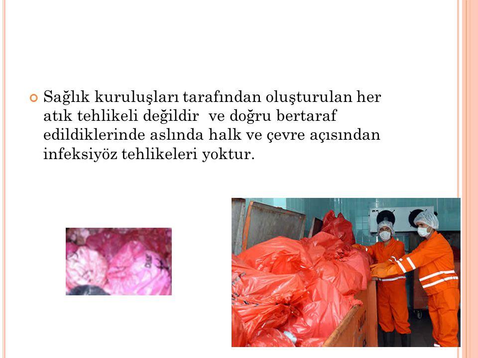 İnfekte Atıklar KIRMIZI TORBA Evsel atıklar ve geri kazanılabilir atıklar, görevlilere teslim edilene kadar mutlaka infekte atıklardan ayrı depolanmalıdır.
