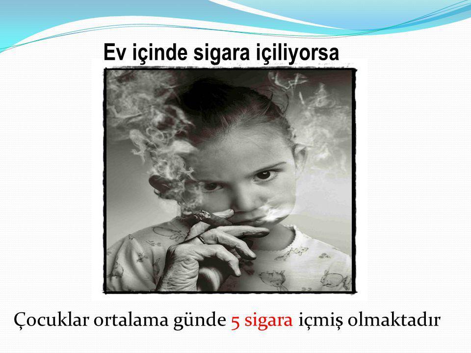Ev içinde sigara içiliyorsa Çocuklar ortalama günde 5 sigara içmiş olmaktadır
