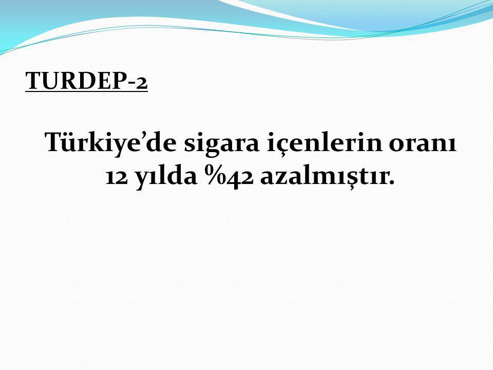TURDEP-2 Türkiye'de sigara içenlerin oranı 12 yılda %42 azalmıştır.