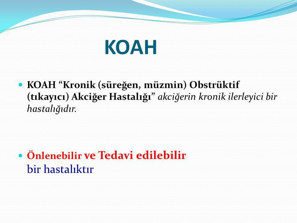 """KOAH KOAH """"Kronik (süreğen, müzmin) Obstrüktif (tıkayıcı) Akciğer Hastalığı"""" akciğerin kronik ilerleyici bir hastalığıdır. Önlenebilir ve Tedavi edile"""