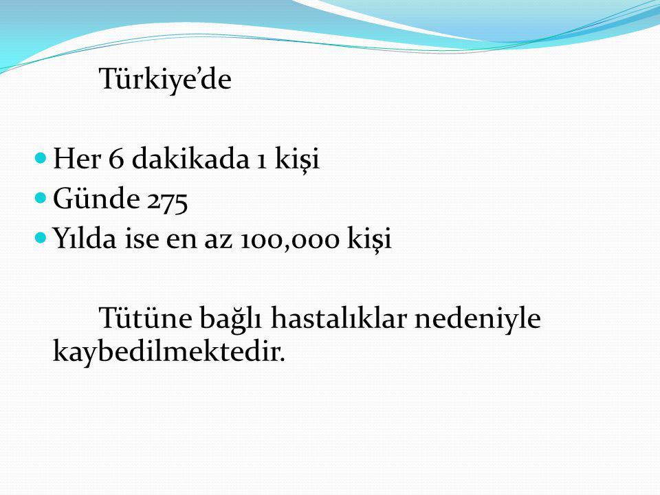 Türkiye'de Her 6 dakikada 1 kişi Günde 275 Yılda ise en az 100,000 kişi Tütüne bağlı hastalıklar nedeniyle kaybedilmektedir.