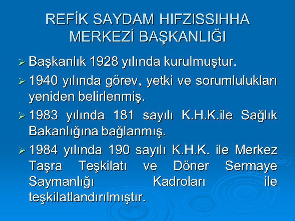 REFİK SAYDAM HIFZISSIHHA MERKEZİ BAŞKANLIĞI  Başkanlık 1928 yılında kurulmuştur.