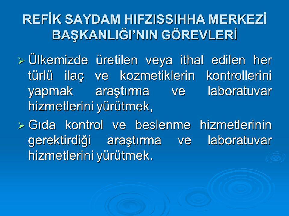 REFİK SAYDAM HIFZISSIHHA MERKEZİ BAŞKANLIĞI'NIN GÖREVLERİ  Ülkemizde üretilen veya ithal edilen her türlü ilaç ve kozmetiklerin kontrollerini yapmak araştırma ve laboratuvar hizmetlerini yürütmek,  Gıda kontrol ve beslenme hizmetlerinin gerektirdiği araştırma ve laboratuvar hizmetlerini yürütmek.