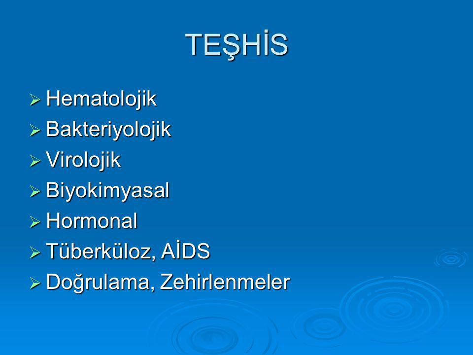 TEŞHİS  Hematolojik  Bakteriyolojik  Virolojik  Biyokimyasal  Hormonal  Tüberküloz, AİDS  Doğrulama, Zehirlenmeler