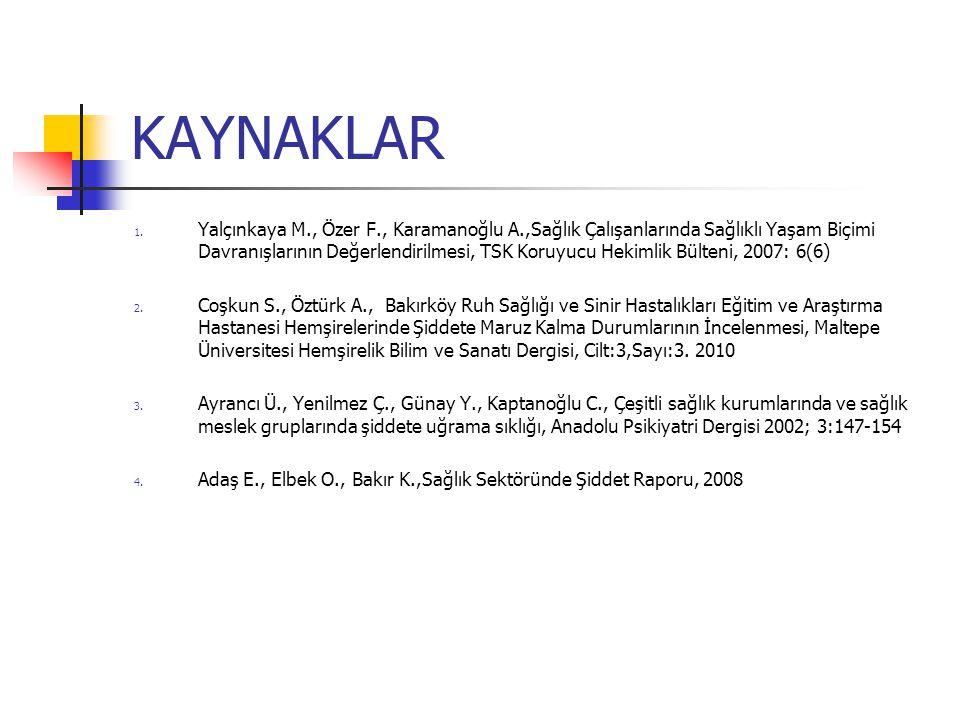 KAYNAKLAR 1. Yalçınkaya M., Özer F., Karamanoğlu A.,Sağlık Çalışanlarında Sağlıklı Yaşam Biçimi Davranışlarının Değerlendirilmesi, TSK Koruyucu Hekiml
