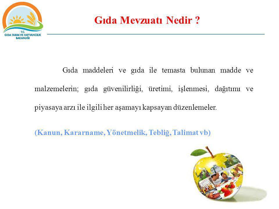 Gıda Mevzuatı Nedir ? Gıda maddeleri ve gıda ile temasta bulunan madde ve malzemelerin; gıda güvenilirliği, üretimi, işlenmesi, dağıtımı ve piyasaya a