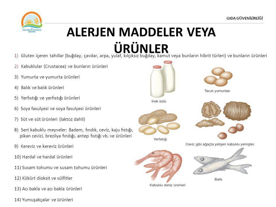 GIDA GÜVENİLİRLİĞİ ALERJEN MADDELER VEYA ÜRÜNLER 1) Gluten içeren tahıllar (buğday, çavdar, arpa, yulaf, kılçıksız buğday, kamut veya bunların hibrit