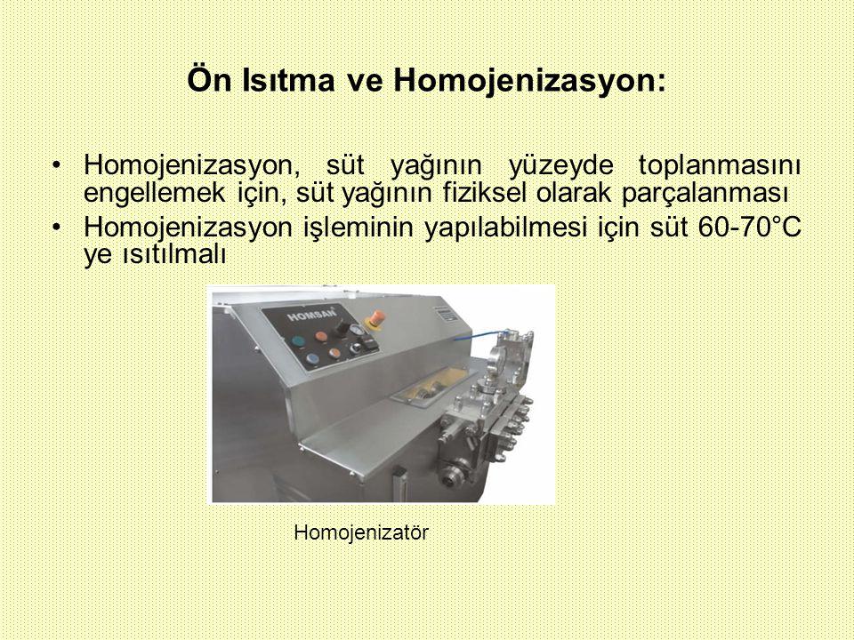 Ön Isıtma ve Homojenizasyon: Homojenizasyon, süt yağının yüzeyde toplanmasını engellemek için, süt yağının fiziksel olarak parçalanması Homojenizasyon