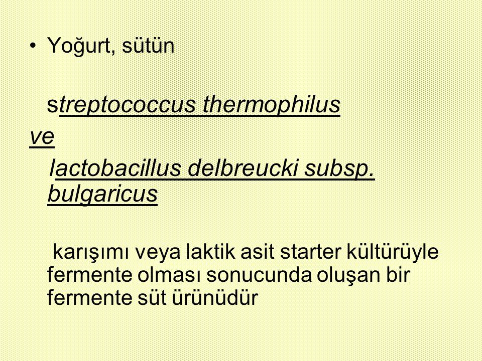 Yoğurt, sütün streptococcus thermophilus ve lactobacillus delbreucki subsp. bulgaricus karışımı veya laktik asit starter kültürüyle fermente olması so