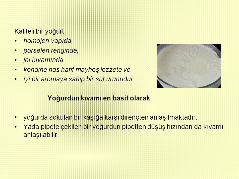 Kaliteli bir yoğurt homojen yapıda, porselen renginde, jel kıvamında, kendine has hafif mayhoş lezzete ve iyi bir aromaya sahip bir süt ürünüdür. Yoğu