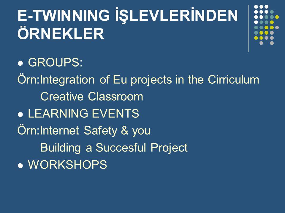 E-TWINNING İŞLEVLERİNDEN ÖRNEKLER GROUPS: Örn:Integration of Eu projects in the Cirriculum Creative Classroom LEARNING EVENTS Örn:Internet Safety & yo