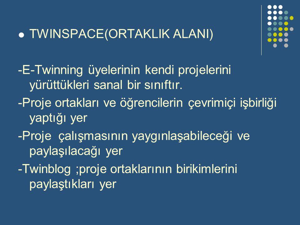 TWINSPACE(ORTAKLIK ALANI) -E-Twinning üyelerinin kendi projelerini yürüttükleri sanal bir sınıftır. -Proje ortakları ve öğrencilerin çevrimiçi işbirli
