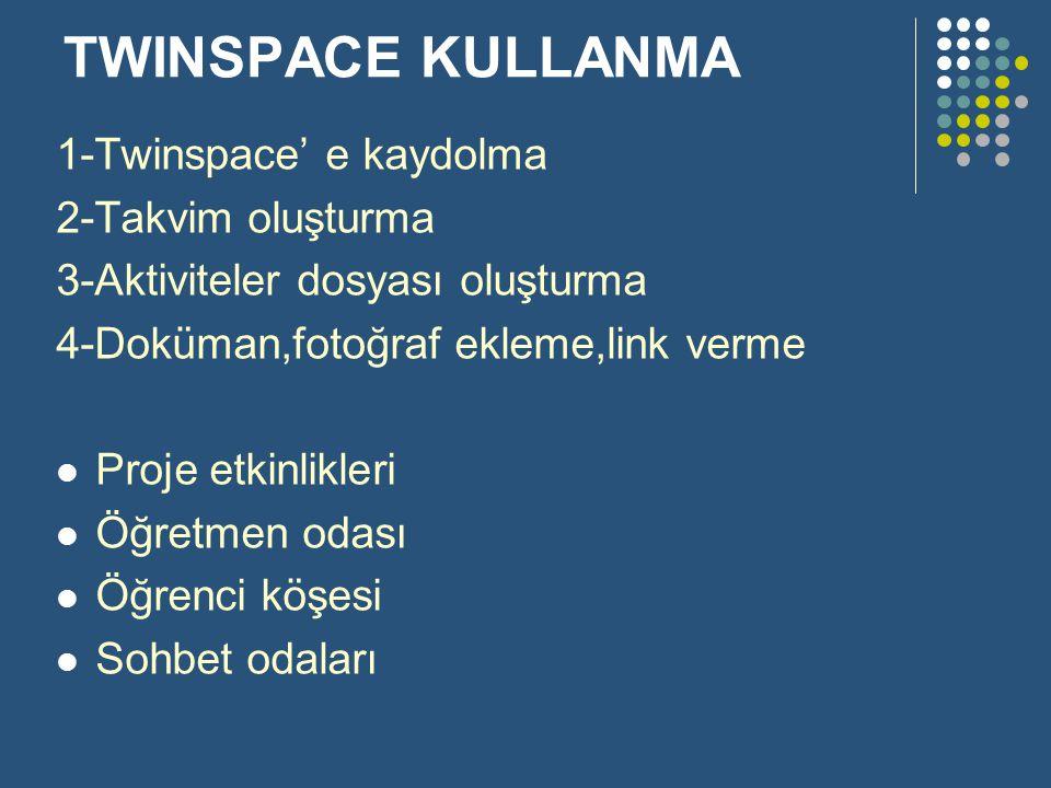 TWINSPACE KULLANMA 1-Twinspace' e kaydolma 2-Takvim oluşturma 3-Aktiviteler dosyası oluşturma 4-Doküman,fotoğraf ekleme,link verme Proje etkinlikleri