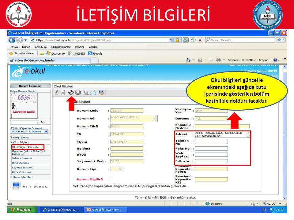 26 Bilgisayar sayıları; e-okul bina durumu ekranından doldurulacaktır.