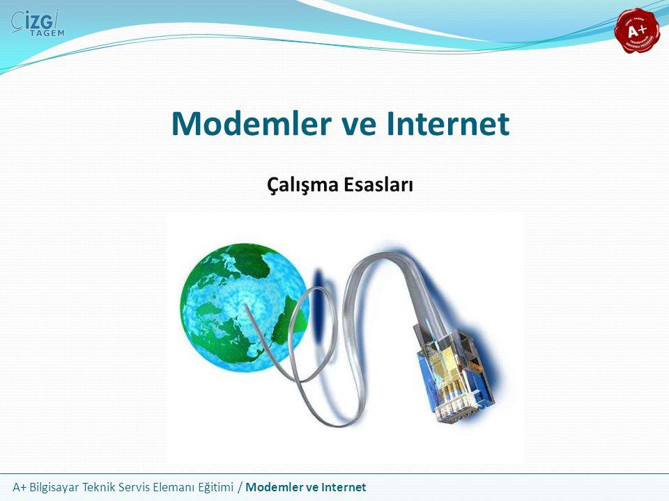 A+ Bilgisayar Teknik Servis Elemanı Eğitimi / Modemler ve Internet Faks Modem Türleri Faks modemlerin üç ana bileşeni vardır DSP: Digital Signal Processor Denetleyici PC arabirimi (ISA, PCI, USB) Genişleme kartı biçimdeki modemler genelde DSP bulundurmaz ve işlemleri CPU üzerinden gerçekleştirir DSP bulundurmayan bu modemler Soft modem olarak tanımlanır Genişleme kartı biçimdeki modemler dahili, USB modemler ise harici modem olarak bilinirler