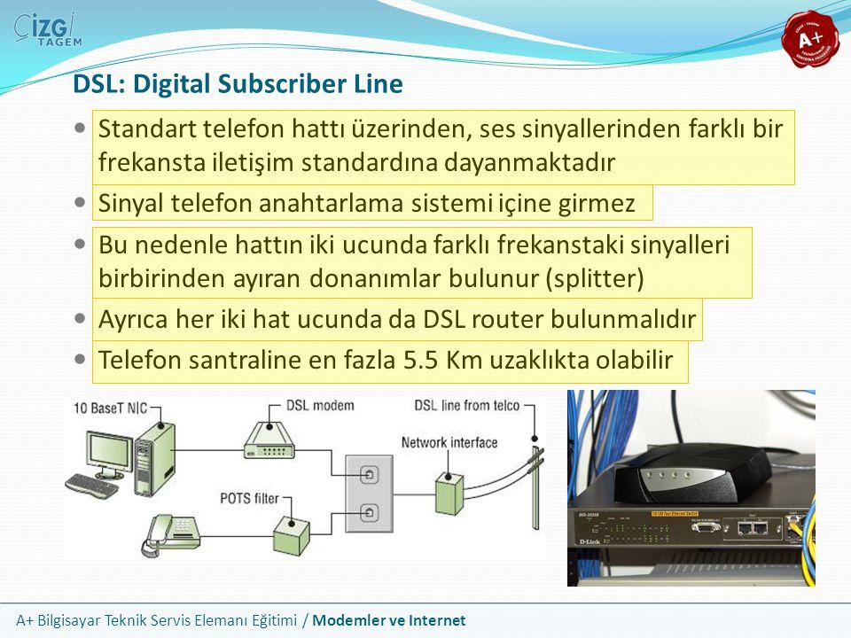 A+ Bilgisayar Teknik Servis Elemanı Eğitimi / Modemler ve Internet DSL: Digital Subscriber Line Standart telefon hattı üzerinden, ses sinyallerinden farklı bir frekansta iletişim standardına dayanmaktadır Sinyal telefon anahtarlama sistemi içine girmez Bu nedenle hattın iki ucunda farklı frekanstaki sinyalleri birbirinden ayıran donanımlar bulunur (splitter) Ayrıca her iki hat ucunda da DSL router bulunmalıdır Telefon santraline en fazla 5.5 Km uzaklıkta olabilir