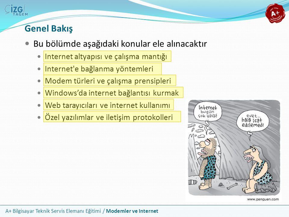 A+ Bilgisayar Teknik Servis Elemanı Eğitimi / Modemler ve Internet Genel Bakış Bu bölümde aşağıdaki konular ele alınacaktır Internet altyapısı ve çalışma mantığı Internet e bağlanma yöntemleri Modem türleri ve çalışma prensipleri Windows'da internet bağlantısı kurmak Web tarayıcıları ve internet kullanımı Özel yazılımlar ve iletişim protokolleri