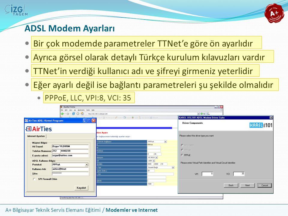 A+ Bilgisayar Teknik Servis Elemanı Eğitimi / Modemler ve Internet ADSL Modem Ayarları Bir çok modemde parametreler TTNet'e göre ön ayarlıdır Ayrıca görsel olarak detaylı Türkçe kurulum kılavuzları vardır TTNet'in verdiği kullanıcı adı ve şifreyi girmeniz yeterlidir Eğer ayarlı değil ise bağlantı parametreleri şu şekilde olmalıdır PPPoE, LLC, VPI:8, VCI: 35