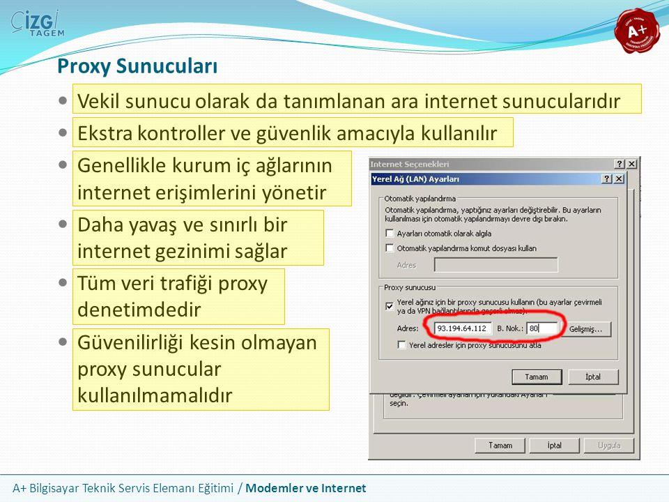 A+ Bilgisayar Teknik Servis Elemanı Eğitimi / Modemler ve Internet Proxy Sunucuları Vekil sunucu olarak da tanımlanan ara internet sunucularıdır Ekstra kontroller ve güvenlik amacıyla kullanılır Genellikle kurum iç ağlarının internet erişimlerini yönetir Daha yavaş ve sınırlı bir internet gezinimi sağlar Tüm veri trafiği proxy denetimdedir Güvenilirliği kesin olmayan proxy sunucular kullanılmamalıdır