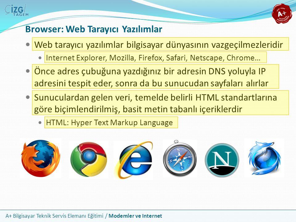 A+ Bilgisayar Teknik Servis Elemanı Eğitimi / Modemler ve Internet Browser: Web Tarayıcı Yazılımlar Web tarayıcı yazılımlar bilgisayar dünyasının vazgeçilmezleridir Internet Explorer, Mozilla, Firefox, Safari, Netscape, Chrome… Önce adres çubuğuna yazdığınız bir adresin DNS yoluyla IP adresini tespit eder, sonra da bu sunucudan sayfaları alırlar Sunuculardan gelen veri, temelde belirli HTML standartlarına göre biçimlendirilmiş, basit metin tabanlı içeriklerdir HTML: Hyper Text Markup Language