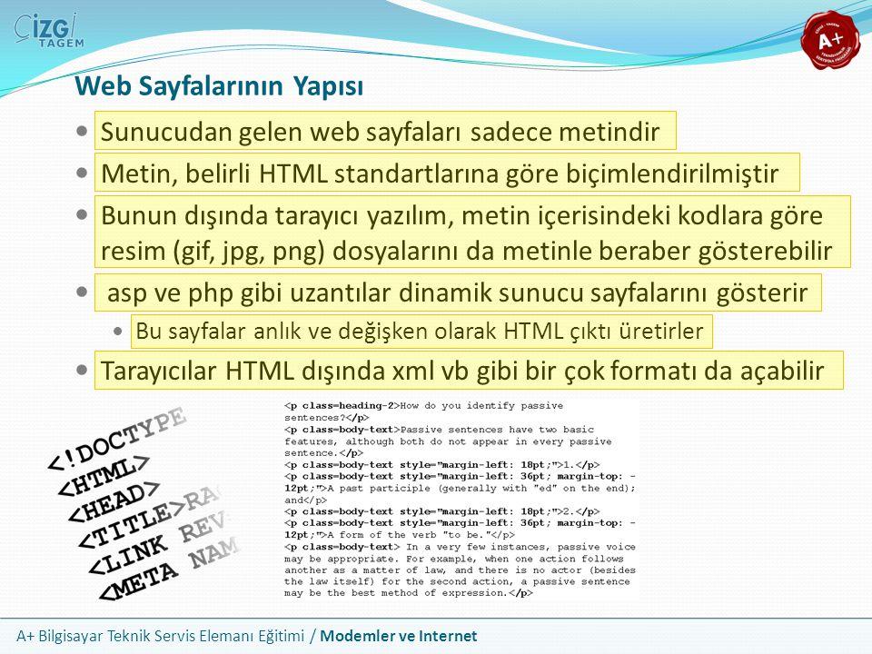 A+ Bilgisayar Teknik Servis Elemanı Eğitimi / Modemler ve Internet Web Sayfalarının Yapısı Sunucudan gelen web sayfaları sadece metindir Metin, belirli HTML standartlarına göre biçimlendirilmiştir Bunun dışında tarayıcı yazılım, metin içerisindeki kodlara göre resim (gif, jpg, png) dosyalarını da metinle beraber gösterebilir asp ve php gibi uzantılar dinamik sunucu sayfalarını gösterir Bu sayfalar anlık ve değişken olarak HTML çıktı üretirler Tarayıcılar HTML dışında xml vb gibi bir çok formatı da açabilir