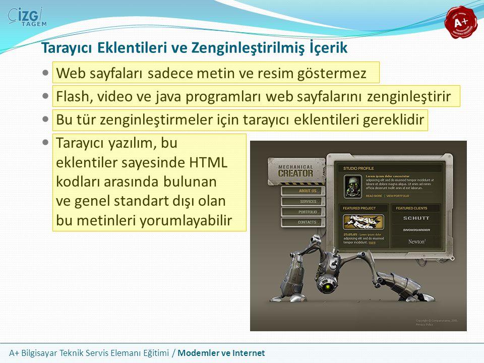 A+ Bilgisayar Teknik Servis Elemanı Eğitimi / Modemler ve Internet Tarayıcı Eklentileri ve Zenginleştirilmiş İçerik Web sayfaları sadece metin ve resim göstermez Flash, video ve java programları web sayfalarını zenginleştirir Bu tür zenginleştirmeler için tarayıcı eklentileri gereklidir Tarayıcı yazılım, bu eklentiler sayesinde HTML kodları arasında bulunan ve genel standart dışı olan bu metinleri yorumlayabilir