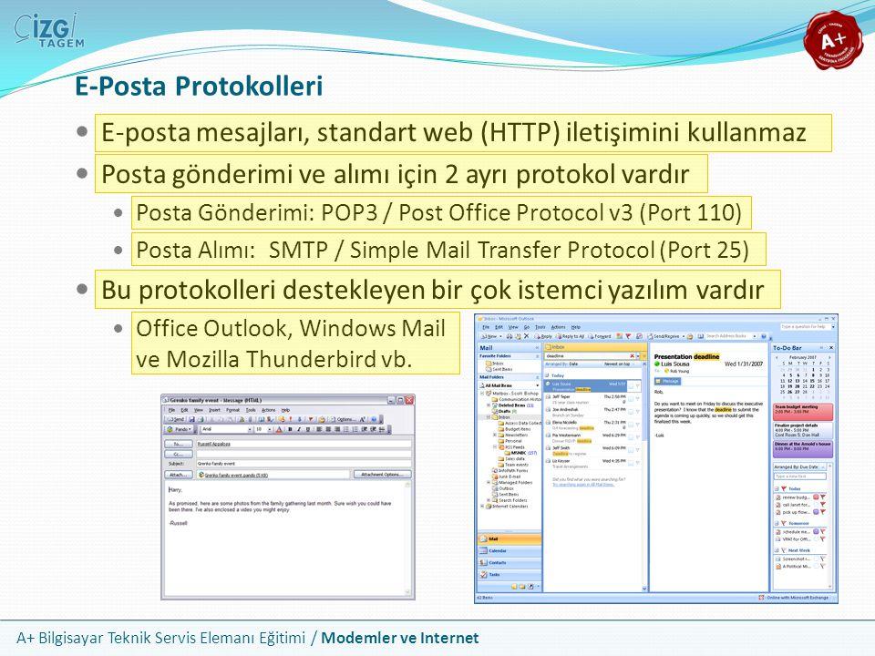 A+ Bilgisayar Teknik Servis Elemanı Eğitimi / Modemler ve Internet E-Posta Protokolleri E-posta mesajları, standart web (HTTP) iletişimini kullanmaz Posta gönderimi ve alımı için 2 ayrı protokol vardır Posta Gönderimi: POP3 / Post Office Protocol v3 (Port 110) Posta Alımı: SMTP / Simple Mail Transfer Protocol (Port 25) Bu protokolleri destekleyen bir çok istemci yazılım vardır Office Outlook, Windows Mail ve Mozilla Thunderbird vb.