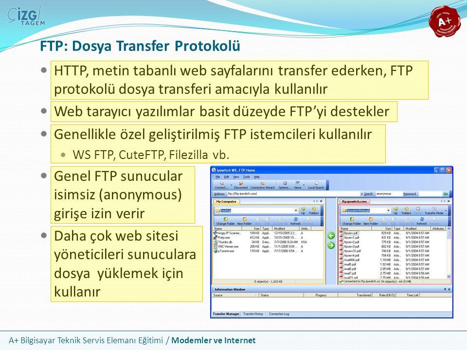 A+ Bilgisayar Teknik Servis Elemanı Eğitimi / Modemler ve Internet FTP: Dosya Transfer Protokolü HTTP, metin tabanlı web sayfalarını transfer ederken, FTP protokolü dosya transferi amacıyla kullanılır Web tarayıcı yazılımlar basit düzeyde FTP'yi destekler Genellikle özel geliştirilmiş FTP istemcileri kullanılır WS FTP, CuteFTP, Filezilla vb.