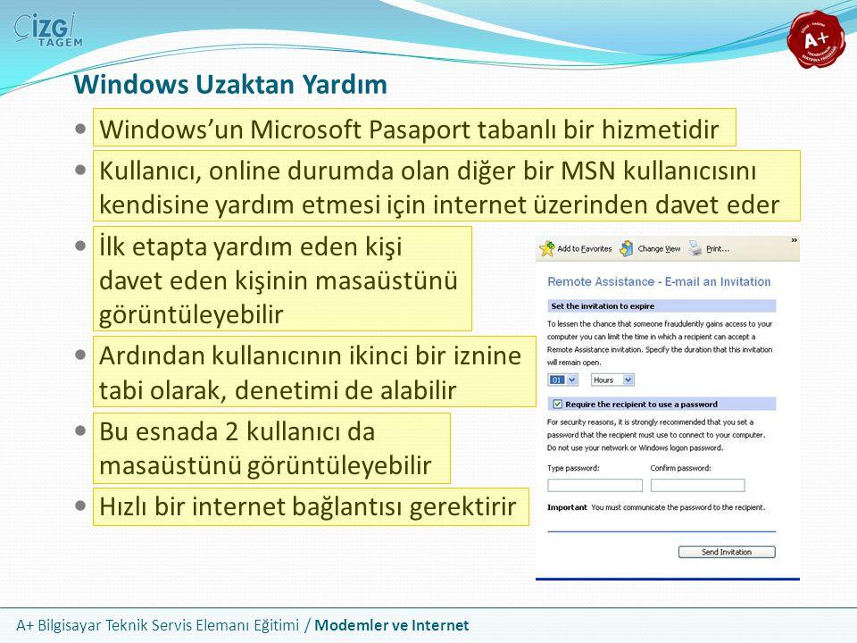 A+ Bilgisayar Teknik Servis Elemanı Eğitimi / Modemler ve Internet Windows Uzaktan Yardım Windows'un Microsoft Pasaport tabanlı bir hizmetidir Kullanıcı, online durumda olan diğer bir MSN kullanıcısını kendisine yardım etmesi için internet üzerinden davet eder İlk etapta yardım eden kişi davet eden kişinin masaüstünü görüntüleyebilir Ardından kullanıcının ikinci bir iznine tabi olarak, denetimi de alabilir Bu esnada 2 kullanıcı da masaüstünü görüntüleyebilir Hızlı bir internet bağlantısı gerektirir