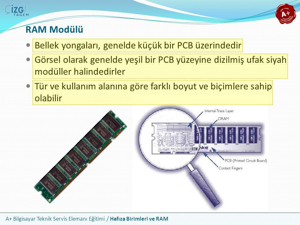 A+ Bilgisayar Teknik Servis Elemanı Eğitimi / Hafıza Birimleri ve RAM RAM Modülü Bellek yongaları, genelde küçük bir PCB üzerindedir Görsel olarak gen