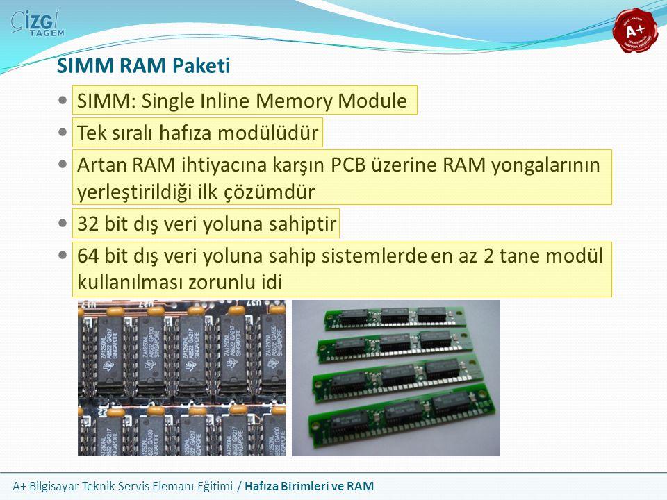 A+ Bilgisayar Teknik Servis Elemanı Eğitimi / Hafıza Birimleri ve RAM SIMM RAM Paketi SIMM: Single Inline Memory Module Tek sıralı hafıza modülüdür Ar