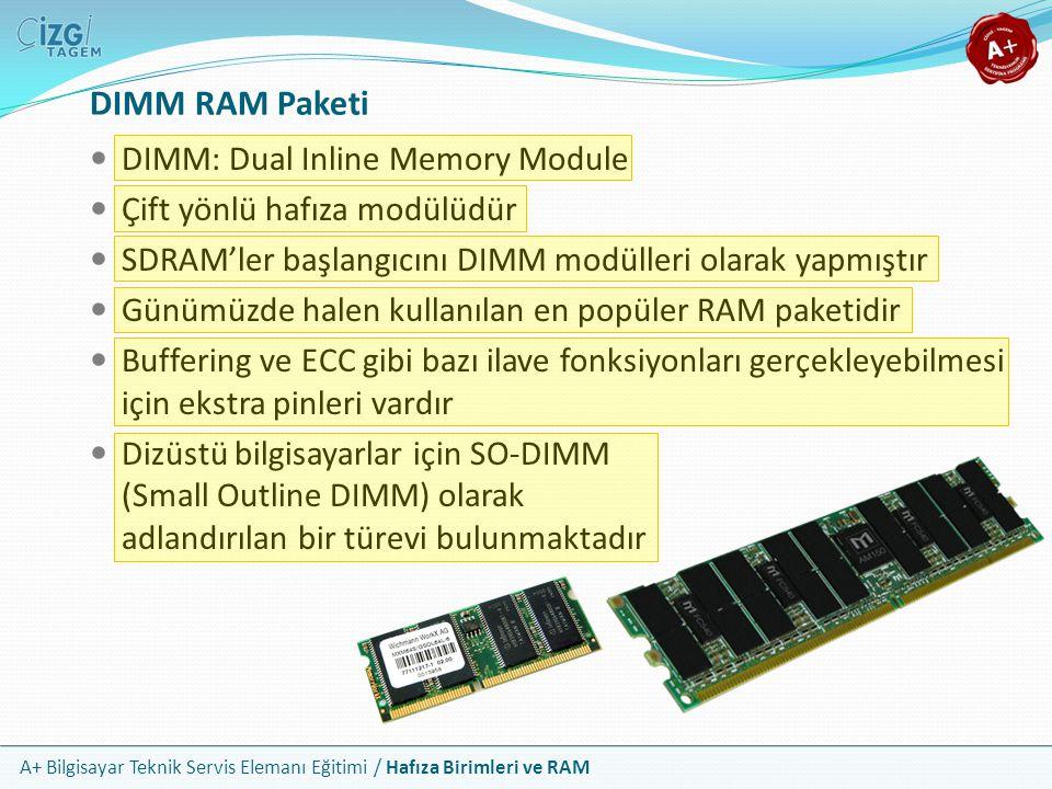 A+ Bilgisayar Teknik Servis Elemanı Eğitimi / Hafıza Birimleri ve RAM DIMM RAM Paketi DIMM: Dual Inline Memory Module Çift yönlü hafıza modülüdür SDRA