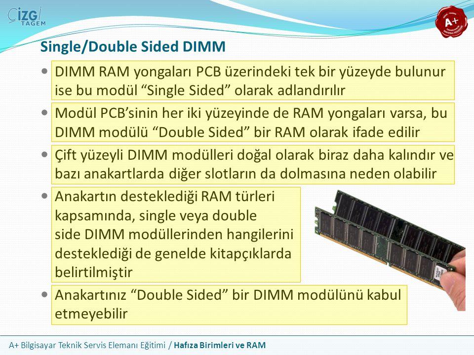 """A+ Bilgisayar Teknik Servis Elemanı Eğitimi / Hafıza Birimleri ve RAM DIMM RAM yongaları PCB üzerindeki tek bir yüzeyde bulunur ise bu modül """"Single S"""